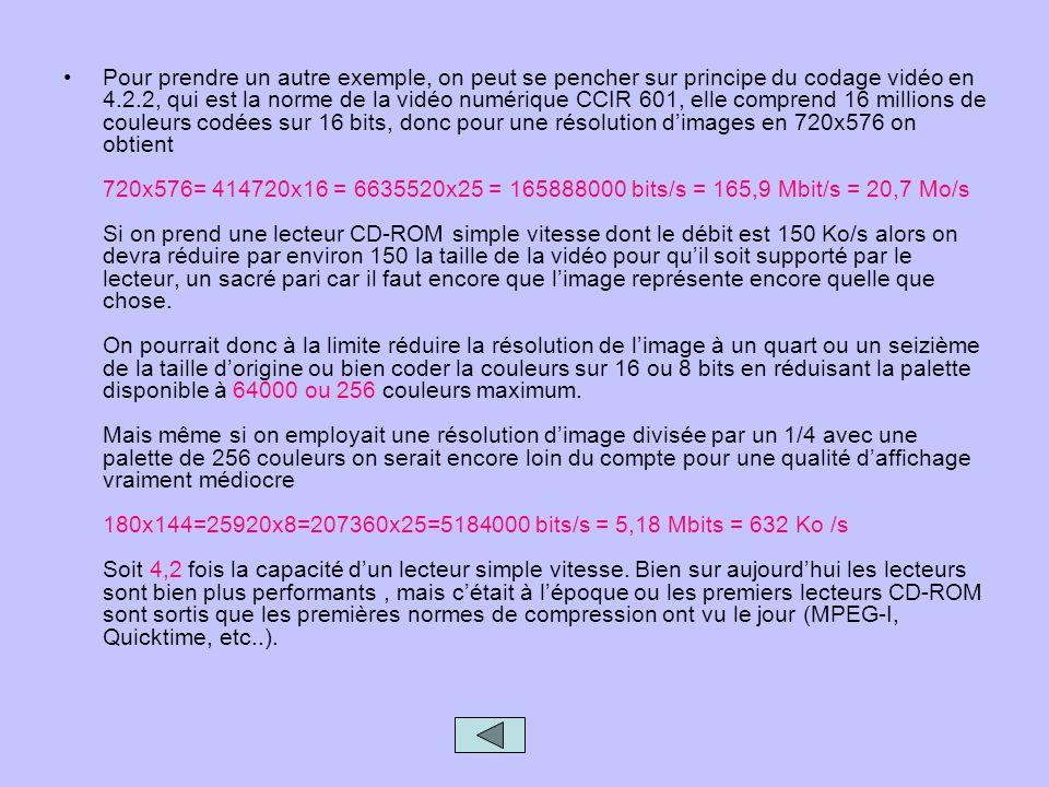 Pour prendre un autre exemple, on peut se pencher sur principe du codage vidéo en 4.2.2, qui est la norme de la vidéo numérique CCIR 601, elle comprend 16 millions de couleurs codées sur 16 bits, donc pour une résolution d'images en 720x576 on obtient 720x576= 414720x16 = 6635520x25 = 165888000 bits/s = 165,9 Mbit/s = 20,7 Mo/s Si on prend une lecteur CD-ROM simple vitesse dont le débit est 150 Ko/s alors on devra réduire par environ 150 la taille de la vidéo pour qu'il soit supporté par le lecteur, un sacré pari car il faut encore que l'image représente encore quelle que chose.