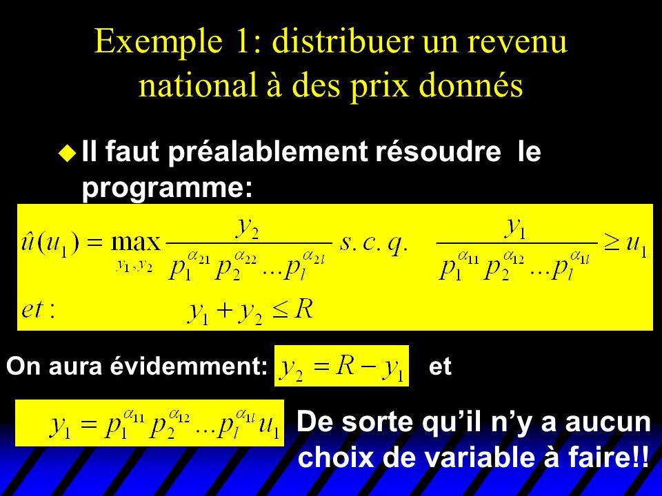 Exemple 1: distribuer un revenu national à des prix donnés