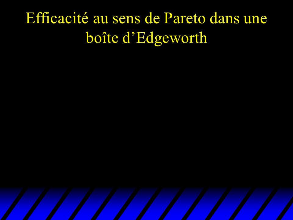 Efficacité au sens de Pareto dans une boîte d'Edgeworth