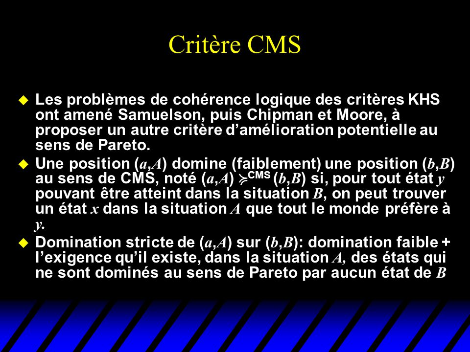 Critère CMS