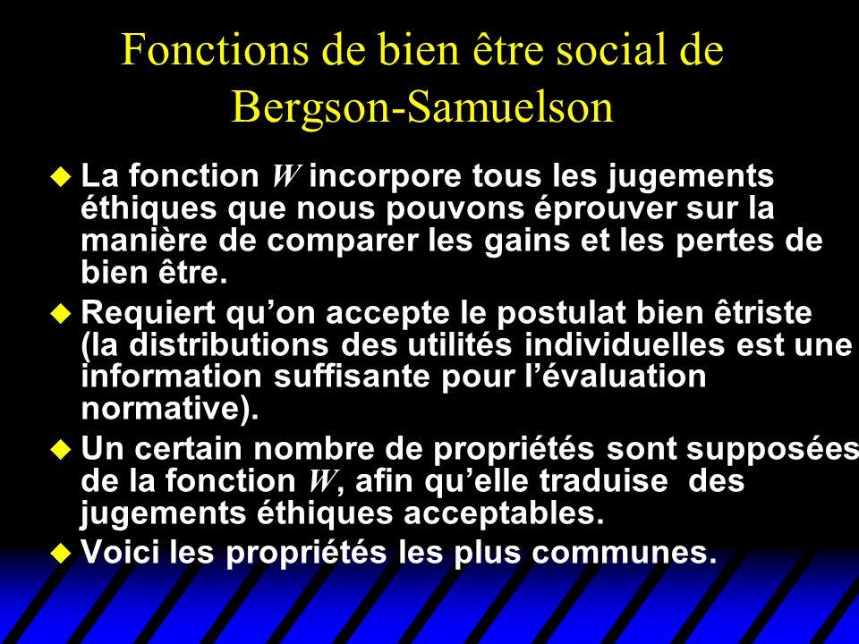 Fonctions de bien être social de Bergson-Samuelson