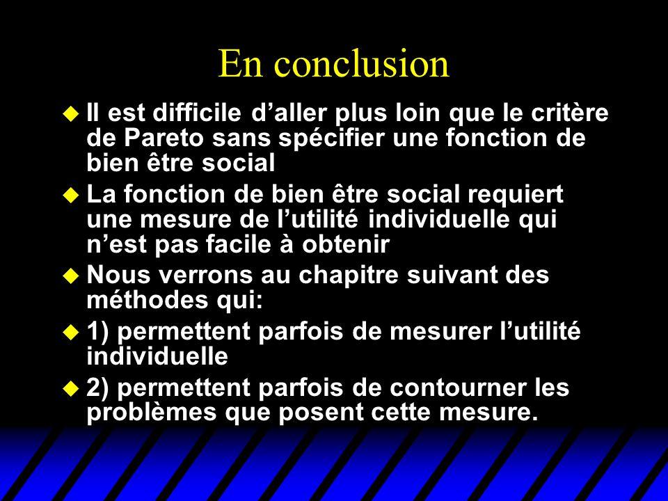 En conclusion Il est difficile d'aller plus loin que le critère de Pareto sans spécifier une fonction de bien être social.