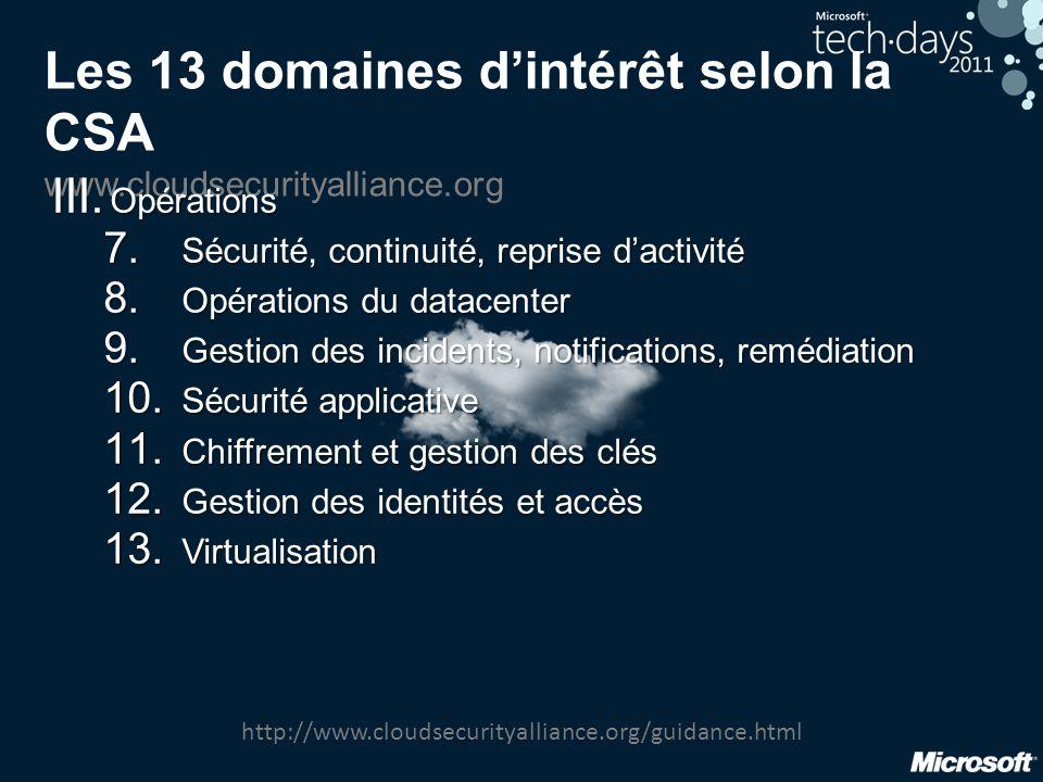 Les 13 domaines d'intérêt selon la CSA www.cloudsecurityalliance.org
