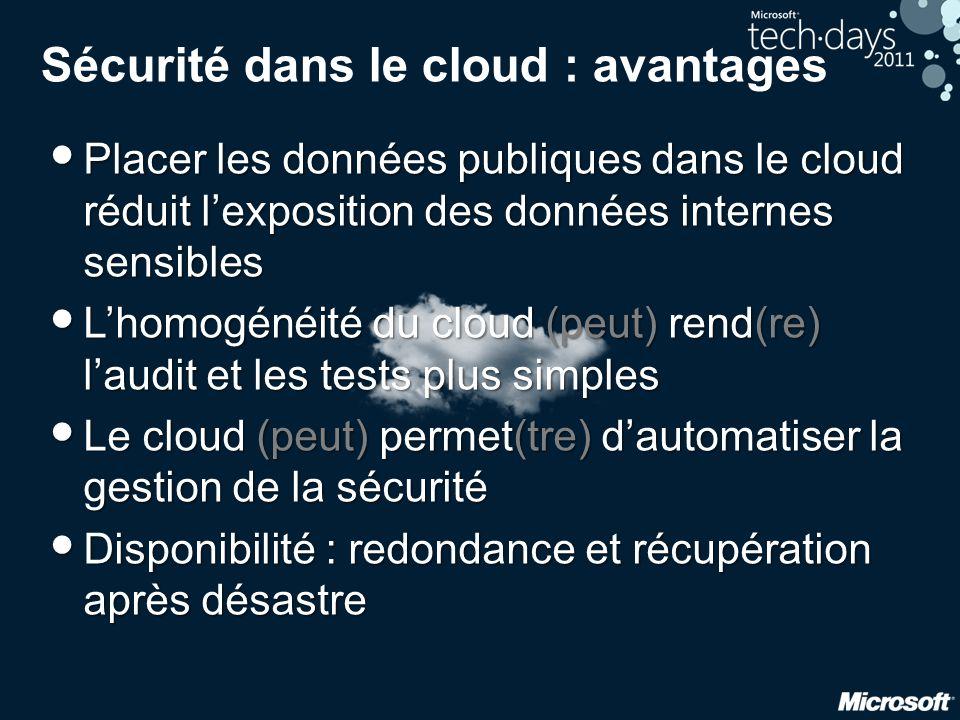 Sécurité dans le cloud : avantages
