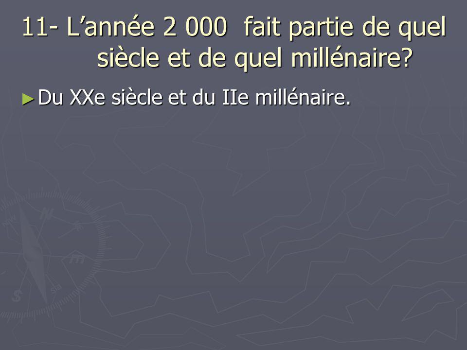 11- L'année 2 000 fait partie de quel siècle et de quel millénaire