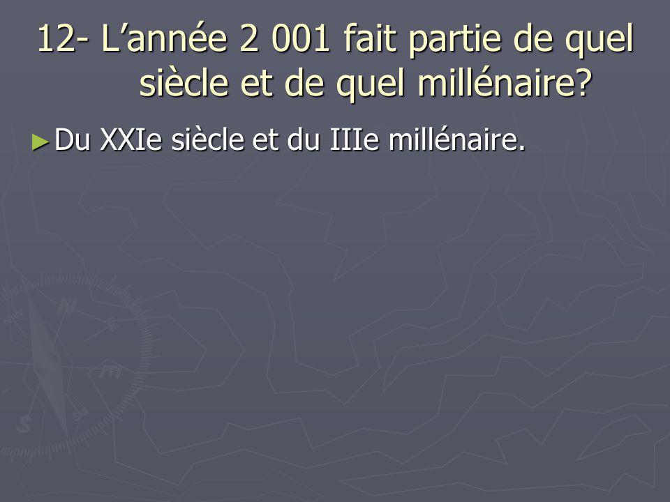 12- L'année 2 001 fait partie de quel siècle et de quel millénaire