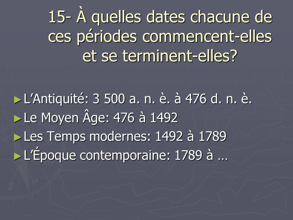 15- À quelles dates chacune de ces périodes commencent-elles et se terminent-elles