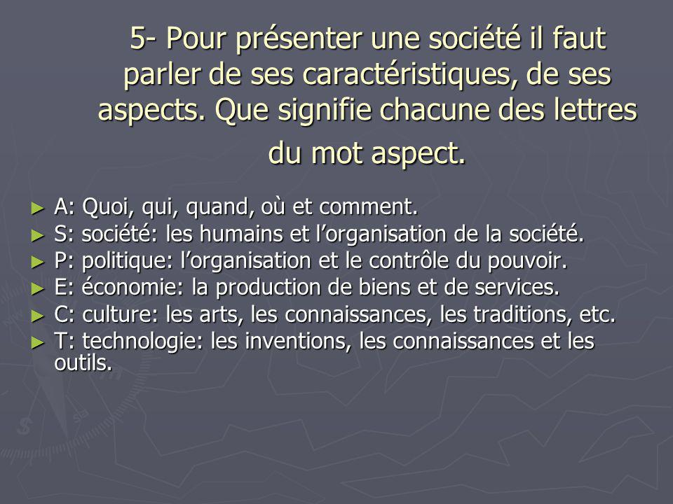 5- Pour présenter une société il faut parler de ses caractéristiques, de ses aspects. Que signifie chacune des lettres du mot aspect.
