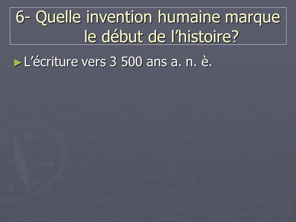 6- Quelle invention humaine marque le début de l'histoire