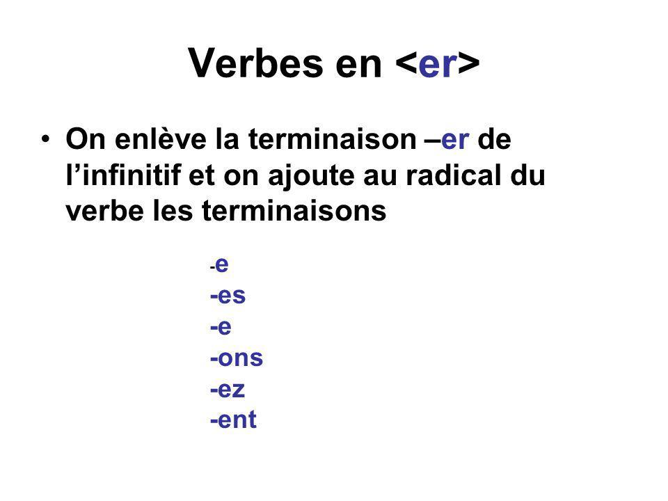 Verbes en <er> On enlève la terminaison –er de l'infinitif et on ajoute au radical du verbe les terminaisons.