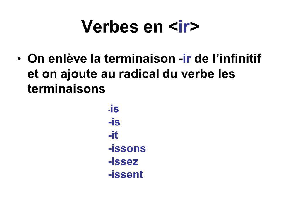 Verbes en <ir> On enlève la terminaison -ir de l'infinitif et on ajoute au radical du verbe les terminaisons.