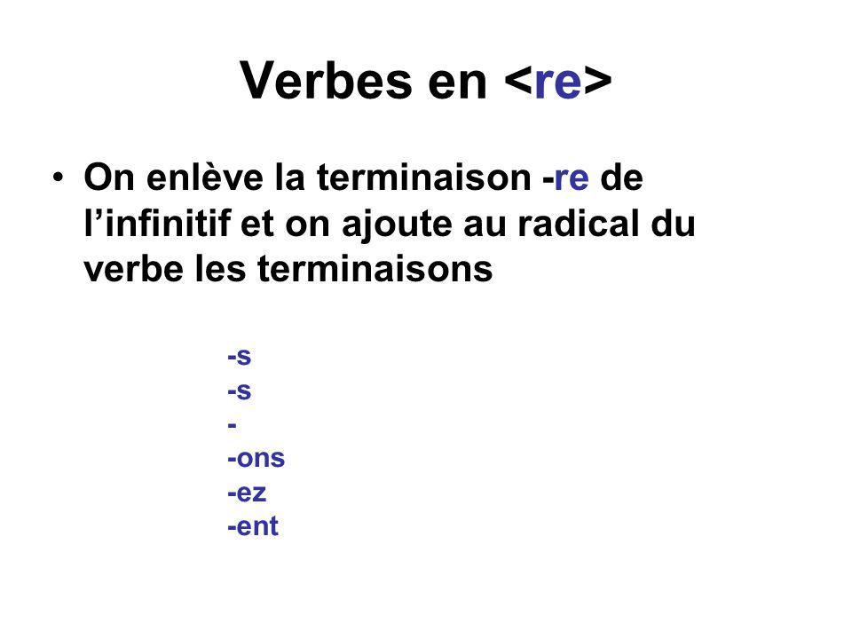 Verbes en <re> On enlève la terminaison -re de l'infinitif et on ajoute au radical du verbe les terminaisons.