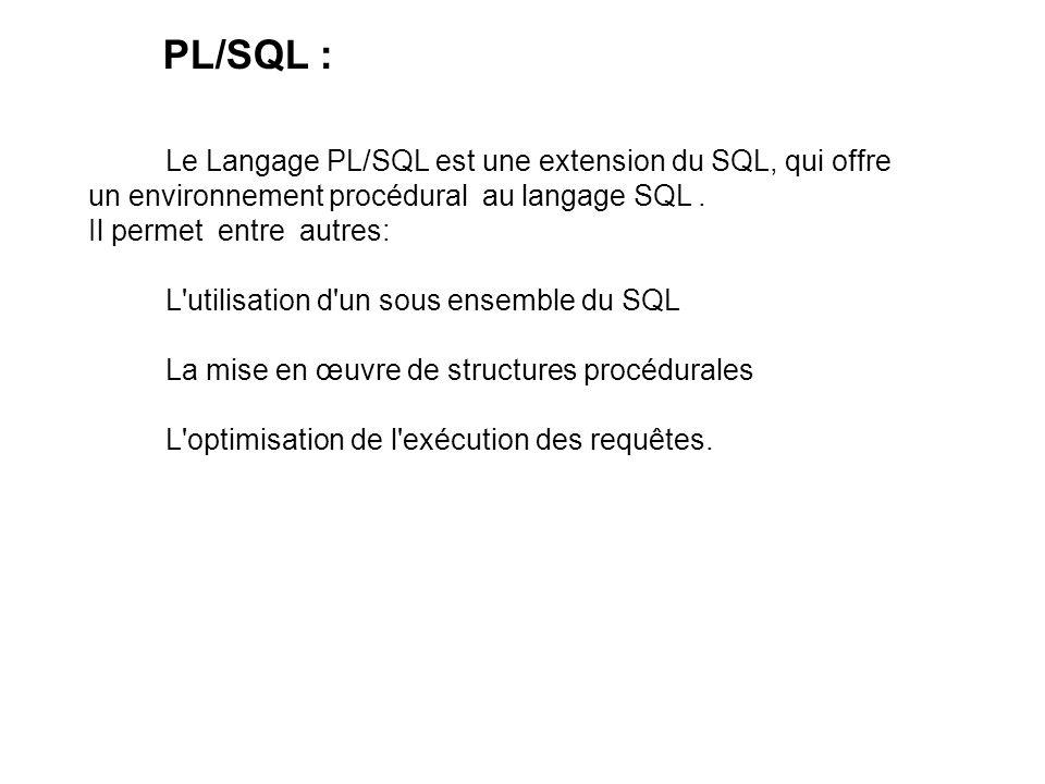 PL/SQL : Le Langage PL/SQL est une extension du SQL, qui offre