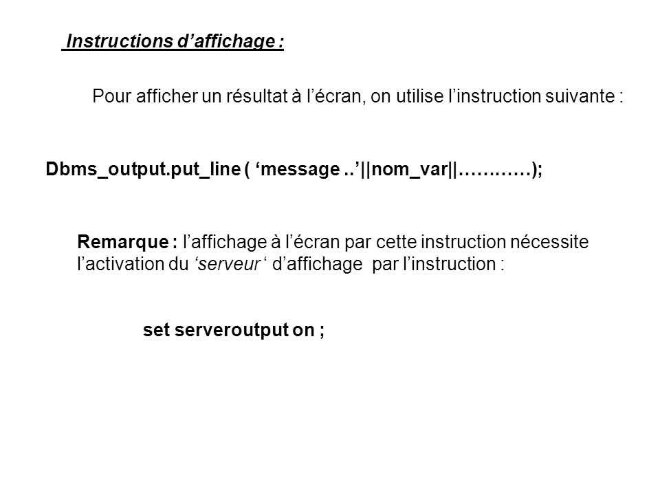 Instructions d'affichage :