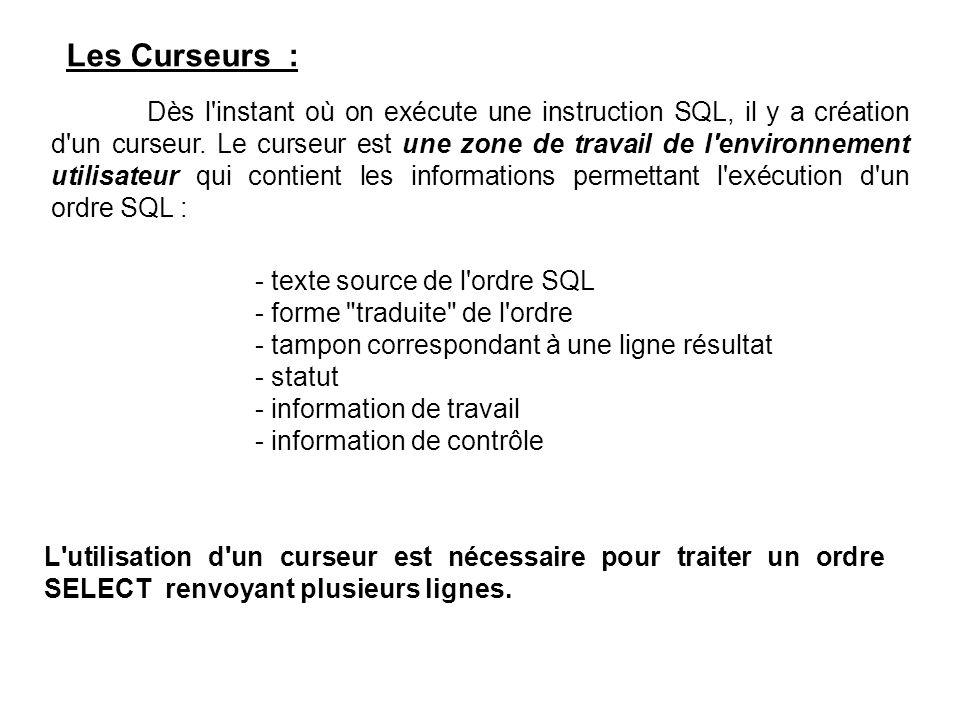 Les Curseurs : - texte source de l ordre SQL