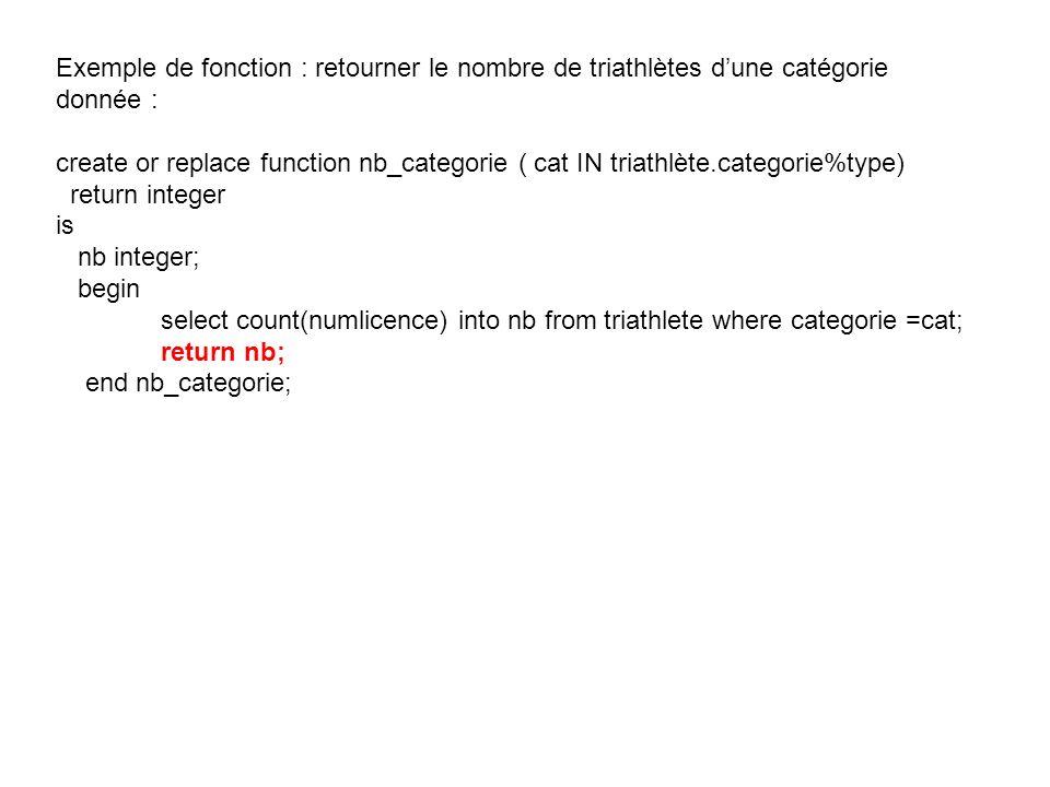 Exemple de fonction : retourner le nombre de triathlètes d'une catégorie donnée :