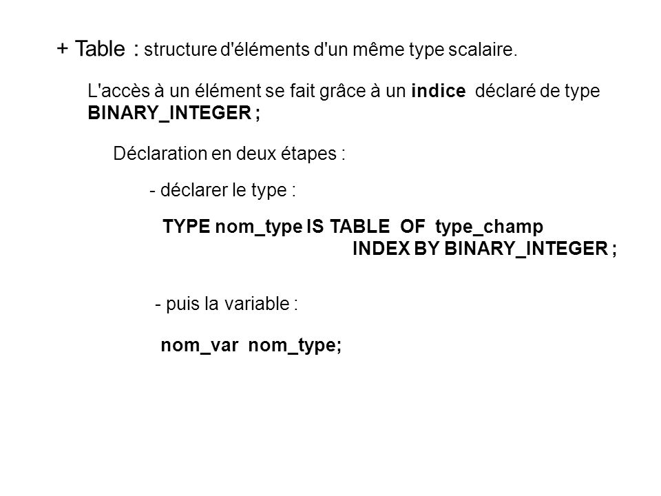 TYPE nom_type IS TABLE OF type_champ INDEX BY BINARY_INTEGER ;