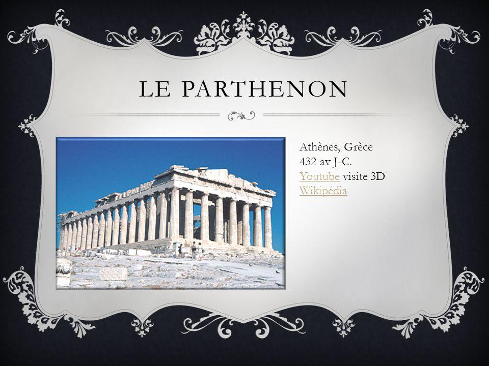 Le parthenon Athènes, Grèce 432 av J-C. Youtube visite 3D Wikipédia