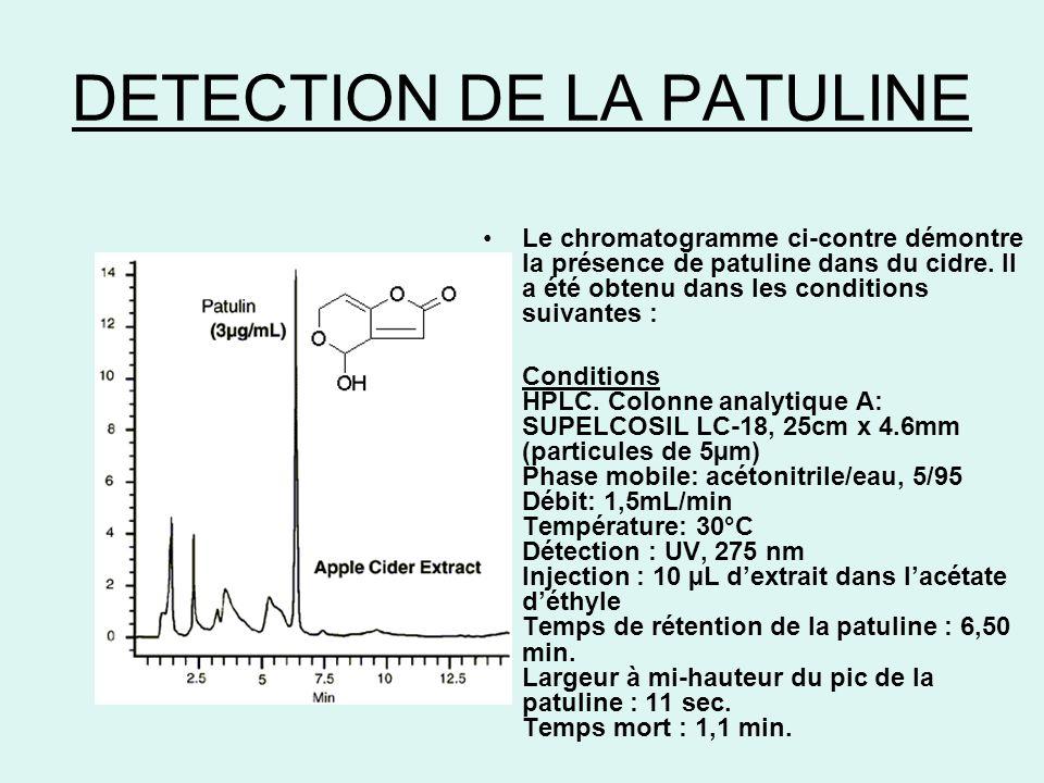 DETECTION DE LA PATULINE