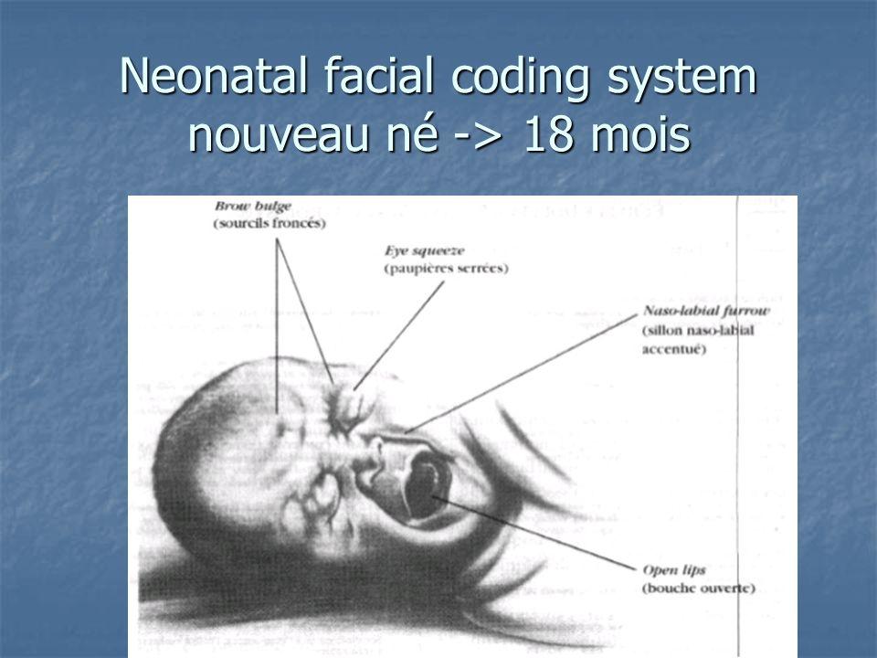 Neonatal facial coding system nouveau né -> 18 mois