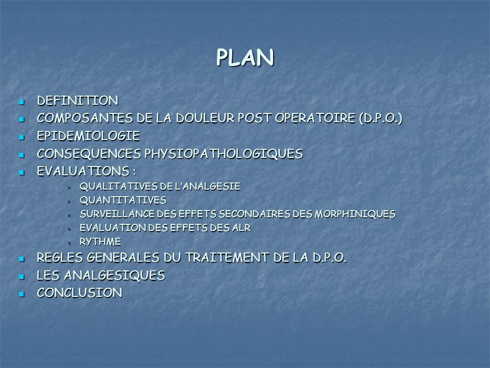 PLAN DEFINITION COMPOSANTES DE LA DOULEUR POST OPERATOIRE (D.P.O.)