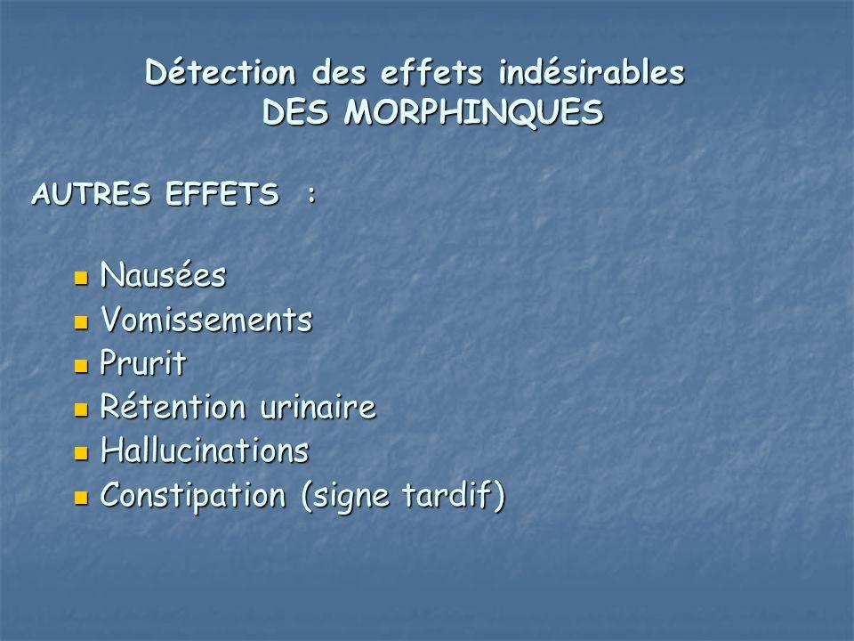 Détection des effets indésirables DES MORPHINQUES