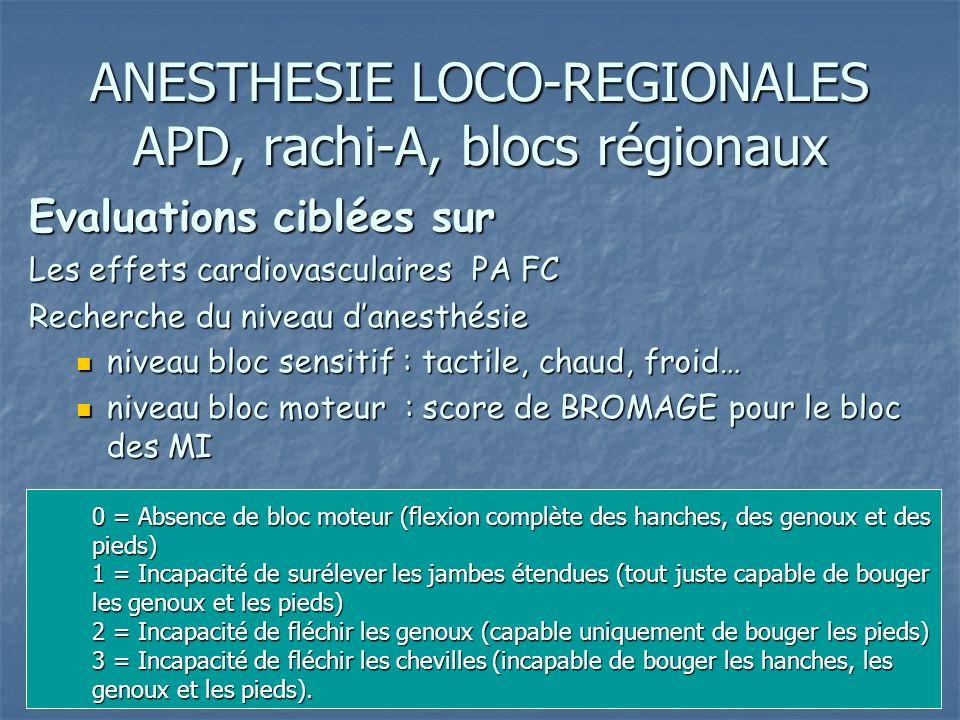 ANESTHESIE LOCO-REGIONALES APD, rachi-A, blocs régionaux