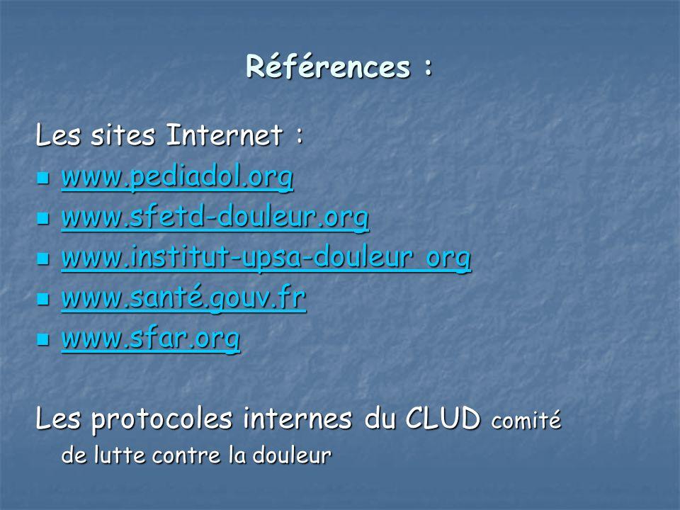 Références : Les sites Internet : www.pediadol.org