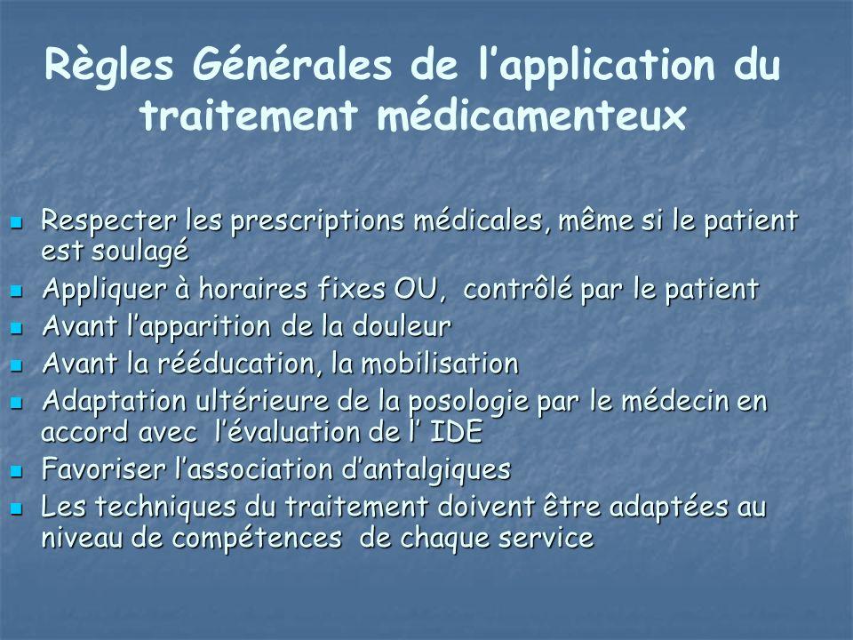 Règles Générales de l'application du traitement médicamenteux