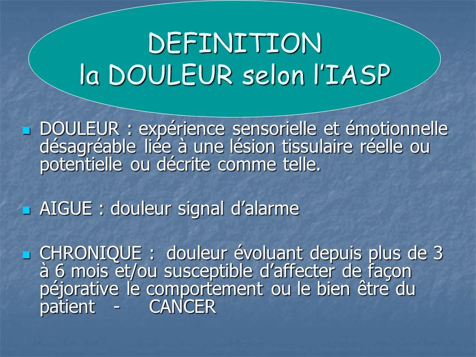 DEFINITION la DOULEUR selon l'IASP
