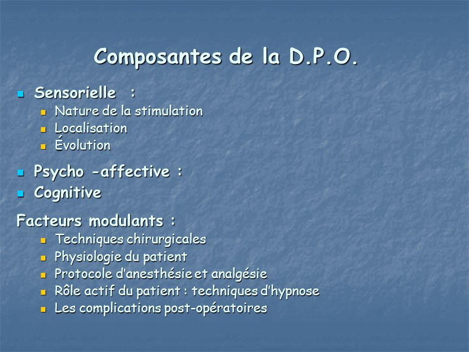 Composantes de la D.P.O. Sensorielle : Psycho -affective : Cognitive