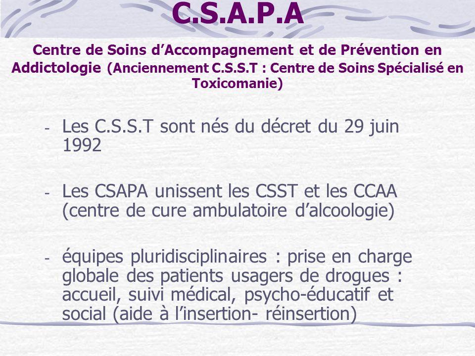 C.S.A.P.A Centre de Soins d'Accompagnement et de Prévention en Addictologie (Anciennement C.S.S.T : Centre de Soins Spécialisé en Toxicomanie)