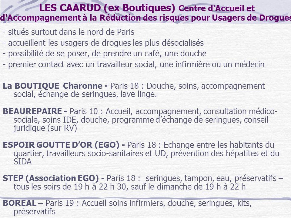 LES CAARUD (ex Boutiques) Centre d Accueil et d Accompagnement à la Réduction des risques pour Usagers de Drogues
