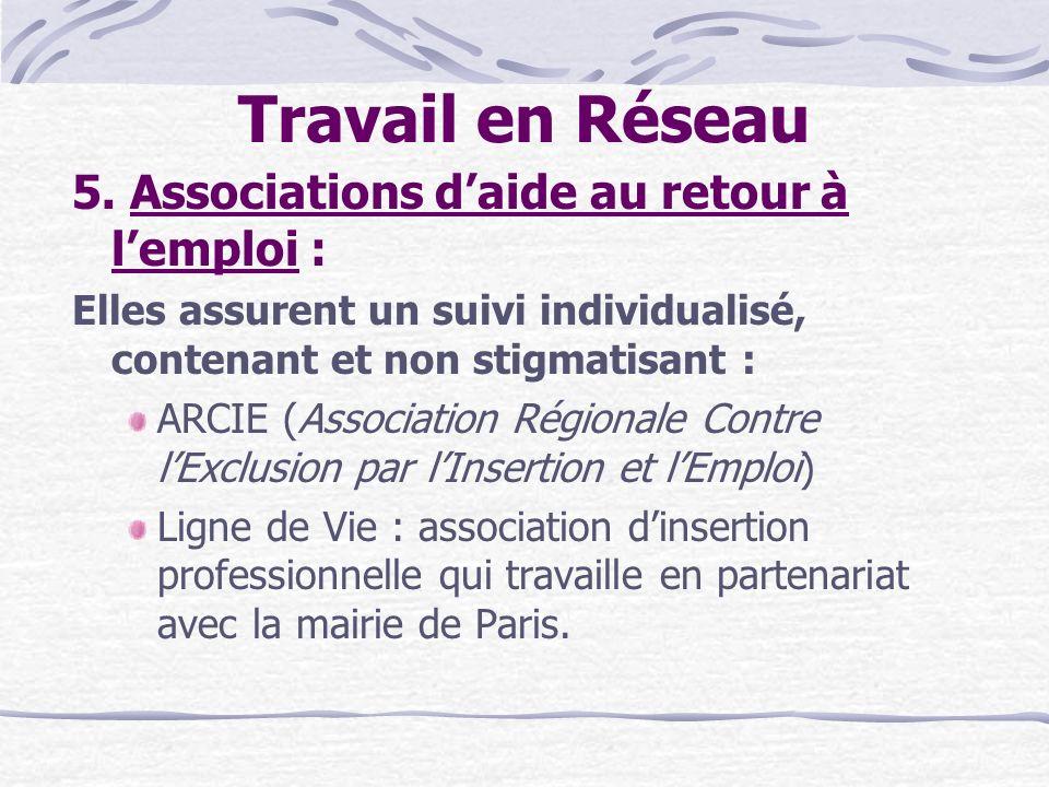 Travail en Réseau 5. Associations d'aide au retour à l'emploi :