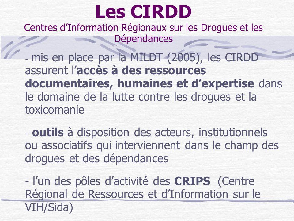 Les CIRDD Centres d'Information Régionaux sur les Drogues et les Dépendances