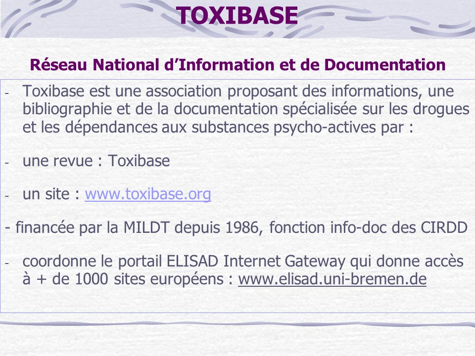 TOXIBASE Réseau National d'Information et de Documentation
