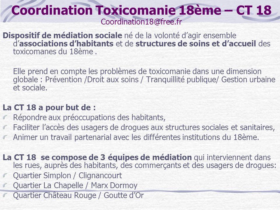 Coordination Toxicomanie 18ème – CT 18 Coordination18@free.fr