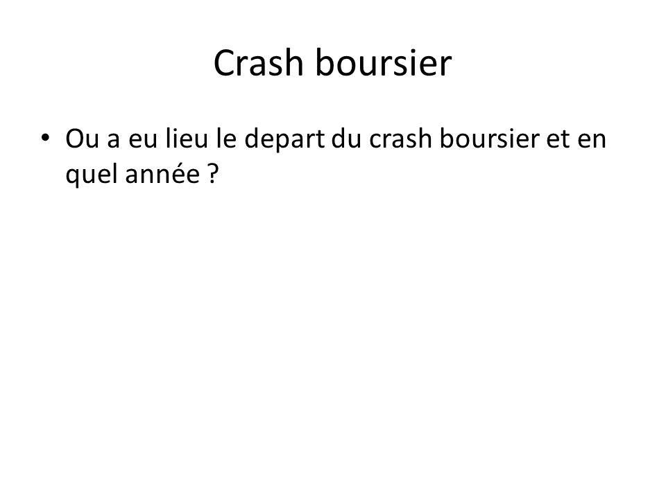 Crash boursier Ou a eu lieu le depart du crash boursier et en quel année