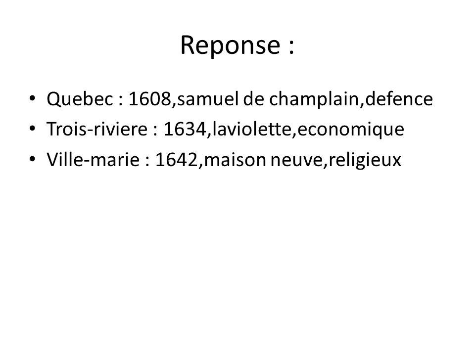 Reponse : Quebec : 1608,samuel de champlain,defence