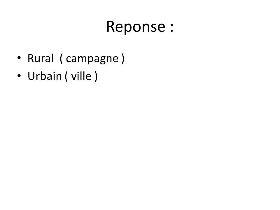 Reponse : Rural ( campagne ) Urbain ( ville )