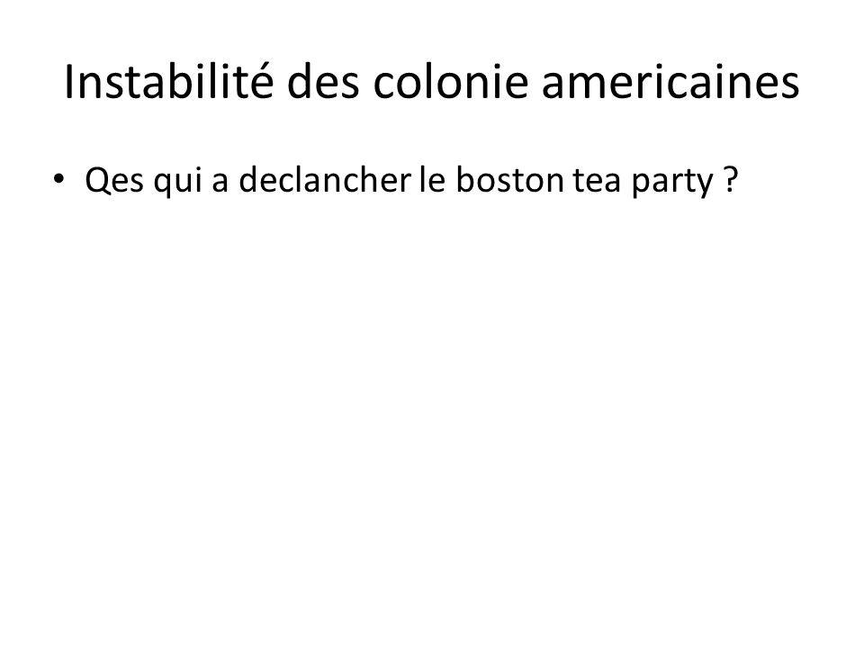 Instabilité des colonie americaines