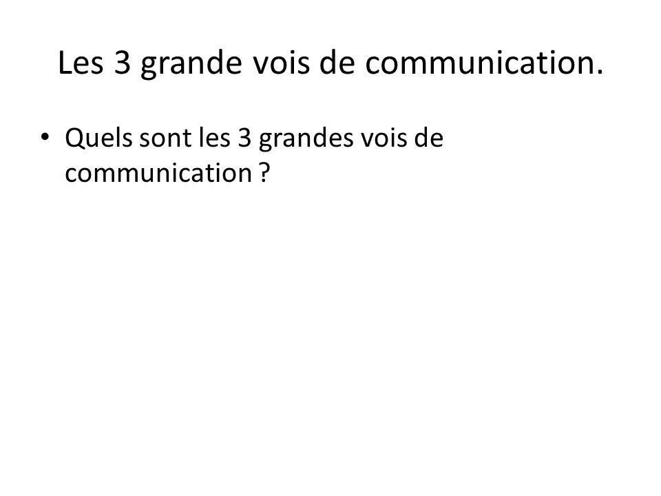 Les 3 grande vois de communication.