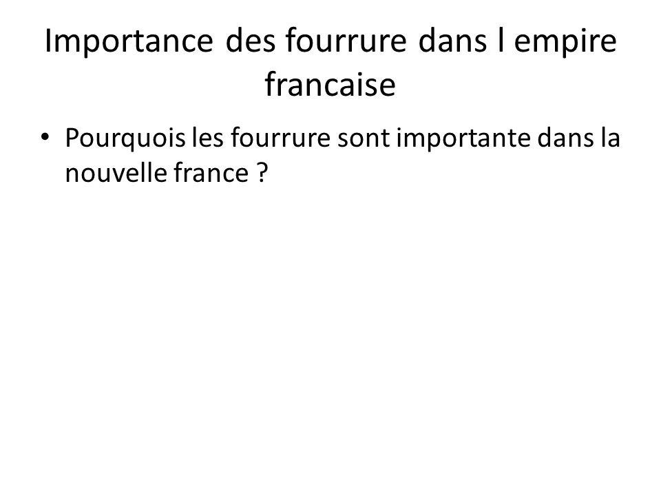 Importance des fourrure dans l empire francaise