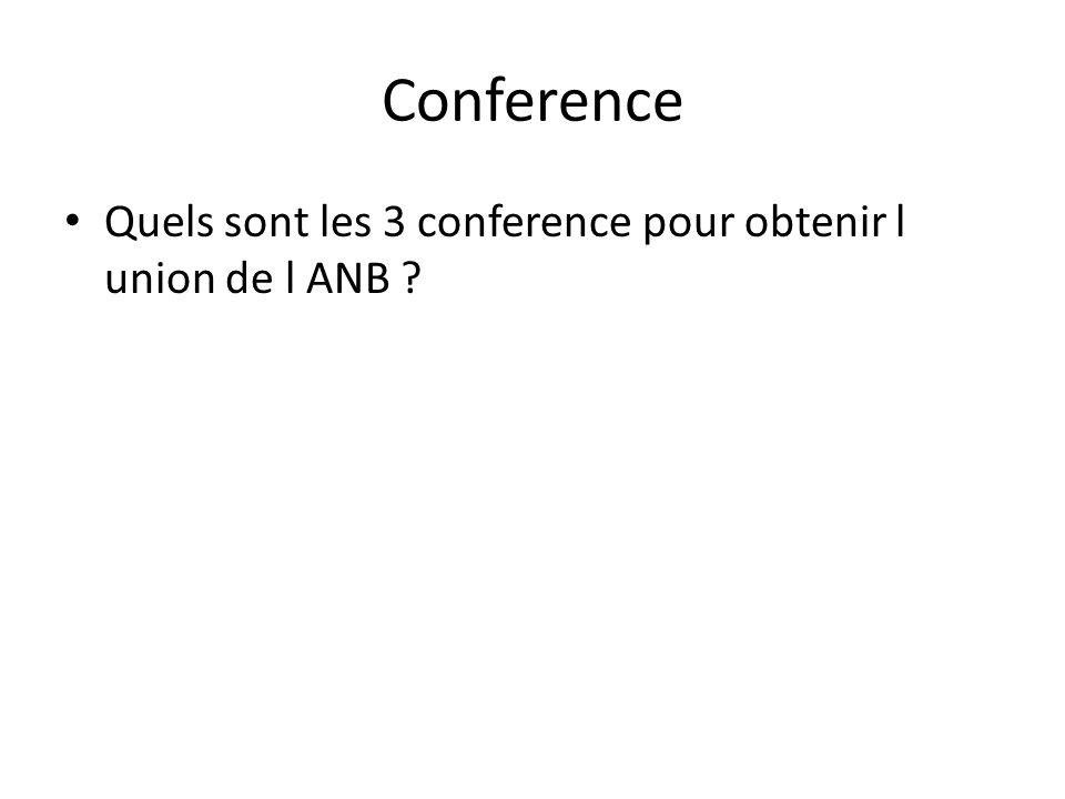 Conference Quels sont les 3 conference pour obtenir l union de l ANB