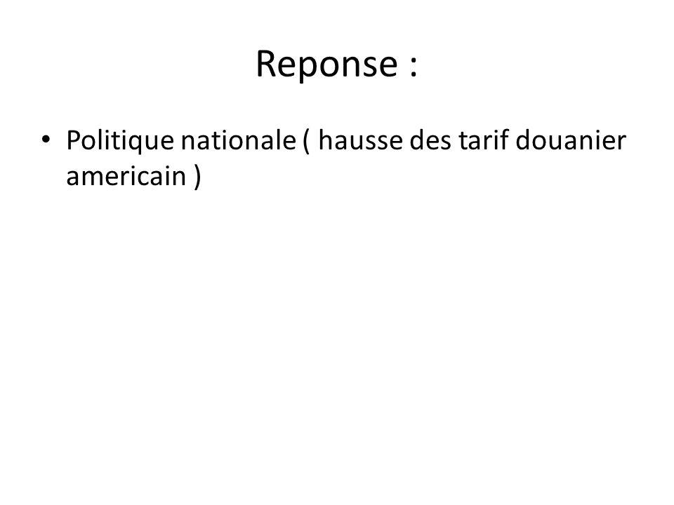 Reponse : Politique nationale ( hausse des tarif douanier americain )