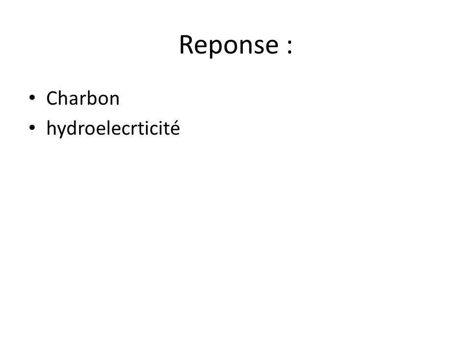 Reponse : Charbon hydroelecrticité