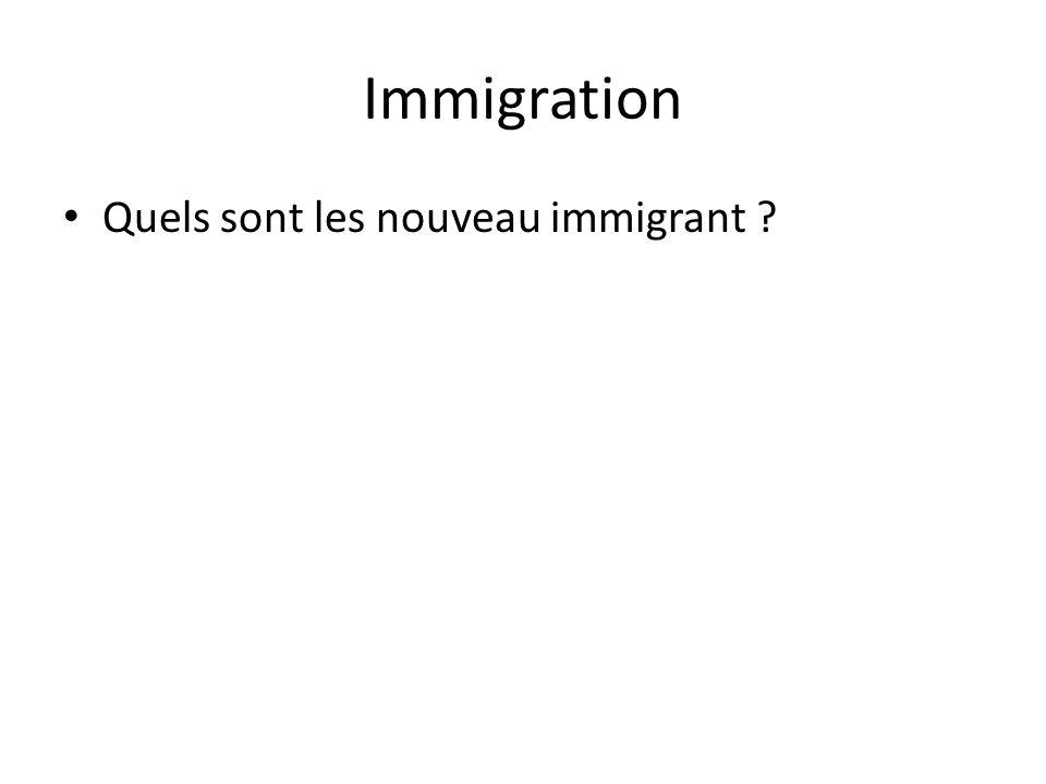 Immigration Quels sont les nouveau immigrant