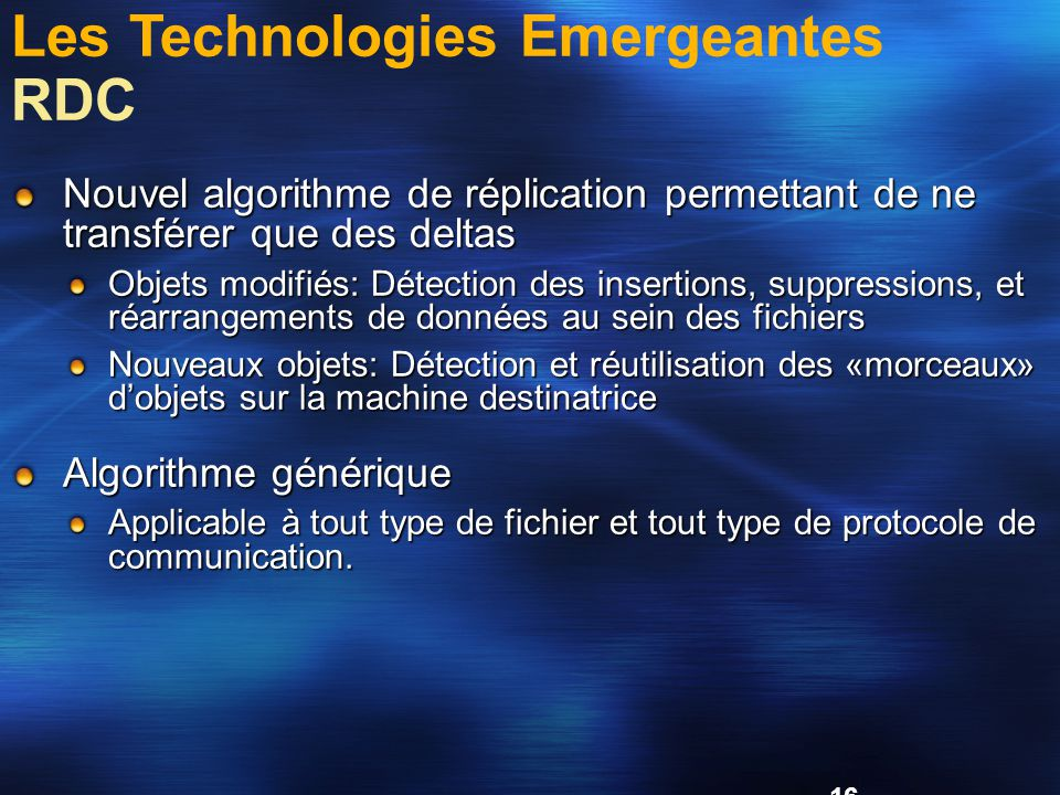 Les Technologies Emergeantes RDC