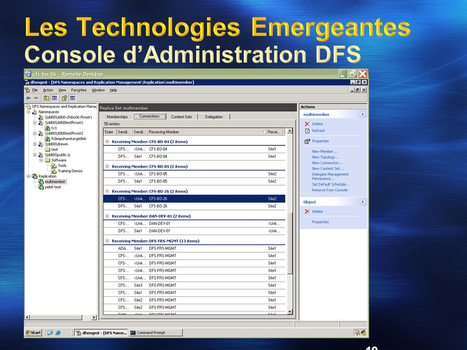 Les Technologies Emergeantes Console d'Administration DFS