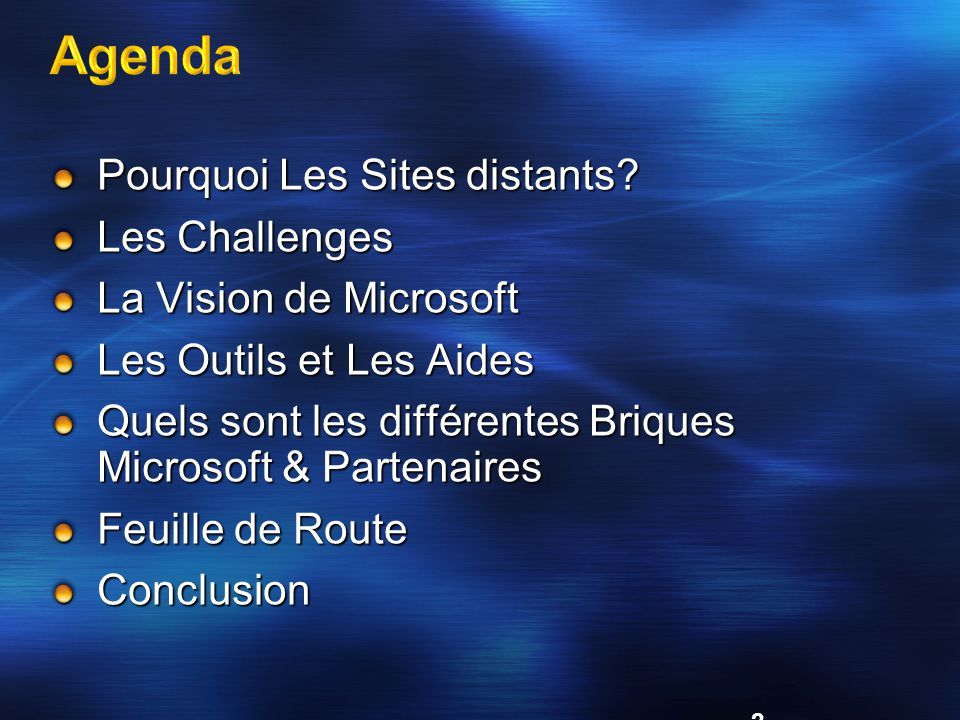 Agenda Pourquoi Les Sites distants Les Challenges